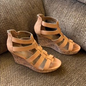 A.N.A Tan Sandal Wedges Size 7M